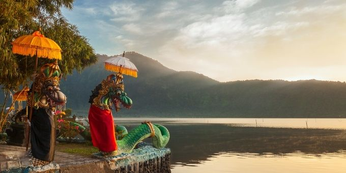 Dragon statues at Lake Bratan, Bali by alastairdixon